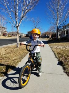 learn to ride a bicylce - Dalton on his first real bicycle!